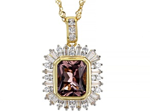Blush Zircon Simulant And White Cubic Zirconia 18K Yellow Gold Over Silver Pendant With Chain