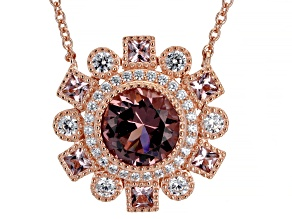 Blush Zircon Simulant And White Cubic Zirconia 18K Rose Gold Over Sterling Silver Necklace 4.47ctw