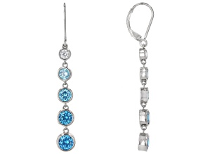 Blue And White Cubic Zirconia Rhodium Over Sterling Silver Earrings 6.82ctw