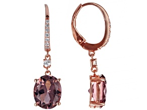 Pink And White Cubic Zirconia 18K Rose Gold Over Sterling Silver Earrings 7.25ctw