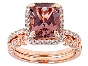 Pink And White Cubic Zirconia 18K Rose Gold Over Sterling Silver Ring With Band 4.24ctw
