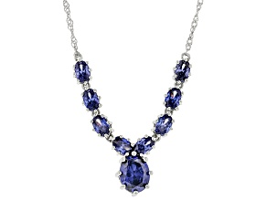 Blue Cubic Zirconia Rhodium Over Sterling Silver Necklace 8.25ctw