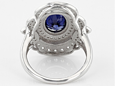 Blue And White Cubic Zirconia Rhodium Over Sterling Silver Ring 5.57ctw