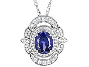 Blue And White Cubic Zirconia Rhodium Over Sterling Silver Pendant With Chain 5.64ctw