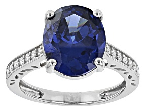 Blue And White Cubic Zirconia Rhodium Over Sterling Silver Rng 8.66ctw