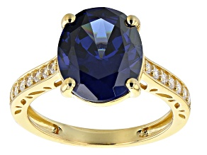 Blue And White Cubic Zirconia 18K Yellow Gold Over Sterling Silver Ring 8.66ctw