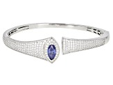 Blue And White Cubic Zirconia Rhodium Over Silver Bangle 9.84ctw