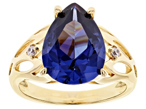Blue And White Cubic Zirconia 18K Yellow Gold Over Sterling Silver Ring 9.27ctw