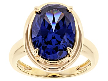 Picture of Blue Cubic Zirconia 18K Yellow Gold Over Sterling Silver Ring 9.87ctw