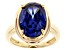 Blue Cubic Zirconia 18K Yellow Gold Over Sterling Silver Ring 9.87ctw