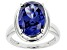 Blue Cubic Zirconia Platinum Over Sterling Silver Ring 9.87ctw