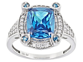 Blue And White Cubic Zirconia Rhodium Over Sterling Silver Ring 5.52ctw
