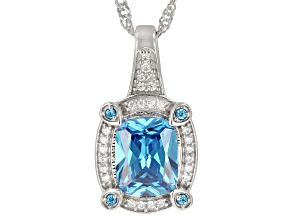 Blue And White Cubic Zirconia Rhodium Over Sterling Silver Pendant With Chain 5.44ctw