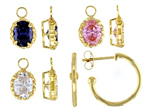 Blue, Pink And White Cubic Zirconia 18K Yellow Gold Over Sterling Silver Earrings 13.87ctw