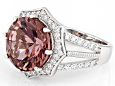 Blush Zircon Simulant And White Cubic Zirconia Rhodium Over Sterling Silver Ring 7.46ctw