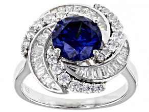 Blue And White Cubic Zirconia Rhodium Over Sterling Silver Ring 5.02ctw