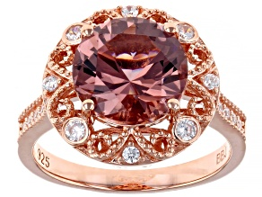 Blush Zircon Simulant And White Cubic Zirconia 18K Rose Gold Over Sterling Silver Ring 4.34ctw