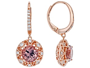Blush Zircon Simulant And White Cubic Zirconia 18K Rose Gold Over Sterling Silver Earrings 5.09ctw