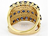 Blue And White Cubic Zirconia 18K Yellow Gold Over Sterling Silver Ring 4.14ctw