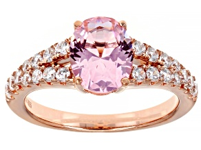 Pink And White Cubic Zirconia 18K Rose Gold Over Sterling Silver Ring 3.79ctw