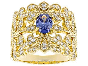Blue And White Cubic Zirconia 18K Yellow Gold Over Sterling Silver Ring 2.13ctw