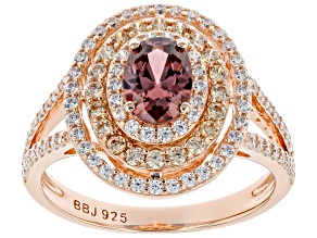 Blush, Champagne, And White Cubic Zirconia 18K Rose Gold Over Sterling Silver Ring 2.70ctw