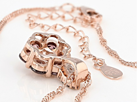 Blush And White Cubic Zirconia 18K Rose Gold Over Sterling Silver Pendant With Chain 3.38ctw