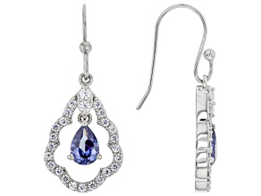 Blue And White Cubic Zirconia Rhodium Over Sterling Silver Earrings 4.00ctw