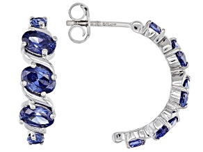 Blue Cubic Zirconia Rhodium Over Sterling Silver Earrings 5.42ctw