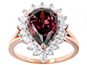 Blush And White Cubic Zirconia 18K Rose Gold Over Sterling Silver Ring 10.35ctw