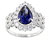 Blue and White Cubic Zirconia Rhodium Over Sterling Silver Ring 8.08ctw