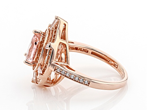 Morganite Simulant And White Cubic Zirconia 18K Rose Gold Over Sterling Silver Ring 2.67ctw