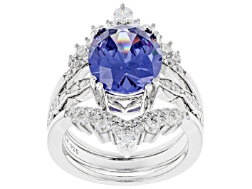 Picture of Blue And White Cubic Zirconia Platinum Over Sterling Silver Ring With Bands 6.51ctw