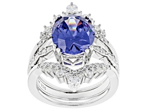 Blue And White Cubic Zirconia Platinum Over Sterling Silver Ring With Bands 6.51ctw