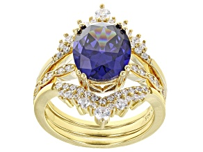 Blue And White Cubic Zirconia 18k Yellow Gold Over Sterling Silver Ring With Bands 6.51ctw