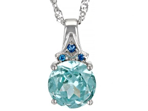 Green And Blue Cubic Zirconia Rhodium Over Sterling Silver Pendant With Chain 2.96ctw