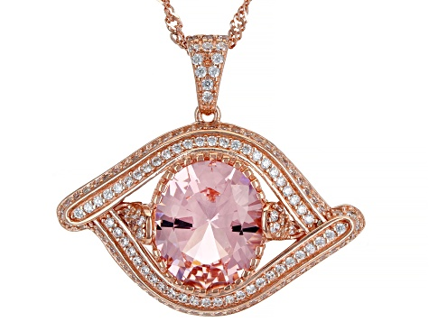 Pink Morganite Simulant And White Cubic Zirconia 18K Rose Gold Over Silver Pendant With Chain