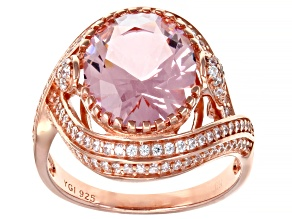 Pink Morganite Simulant And White Cubic Zirconia 18K Rose Gold Over Sterling Silver Ring 4.63ctw
