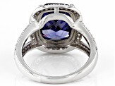 Blue And White Cubic Zirconia Rhodium Over Sterling Silver Ring 10.67ctw