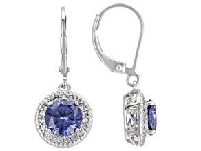 Blue And White Cubic Zircoinia Platinum Over Sterling Silver Earrings 4.61ctw