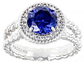 Blue And White Cubic Zirconia Platinum Over Sterling Silver Ring 3.18ctw