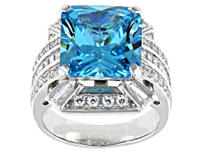Blue And White Cubic Zirconia Rhodium Over Sterling Silver Ring 14.24ctw