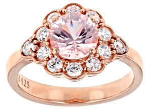 Morganite Simulant and White Cubic Zirconia 18k Rose Gold Over Sterling Silver Ring 3.01ctw