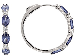 Blue And White Cubic Zirconia Rhodium Over Sterling Silver Earrings 4.32ctw