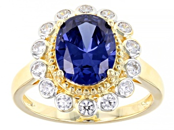 Picture of Blue And White Cubic Zirconia 18K Yellow Gold Over Sterling Silver Ring 5.34ctw