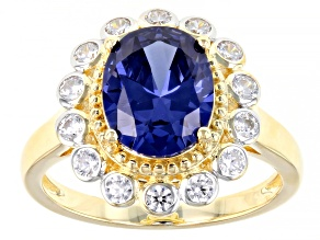 Blue And White Cubic Zirconia 18K Yellow Gold Over Sterling Silver Ring 5.34ctw