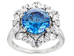 Blue And White Cubic Zirconia Rhodium Over Sterling Silver Ring 7.34ctw