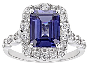 Blue And White Cubic Zirconia Platinum Over Sterling Silver Ring 5.31ctw