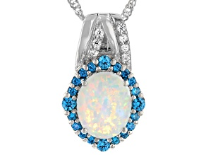 Lab Created Opal And Blue And White Cubic Zirconia Rhodium Over Silver Pendant With Chain 1.68ctw