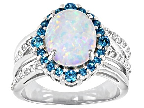 Lab Created Opal And Blue And White Cubic Zirconia Rhodium Over Sterling Silver Ring 2.03ctw